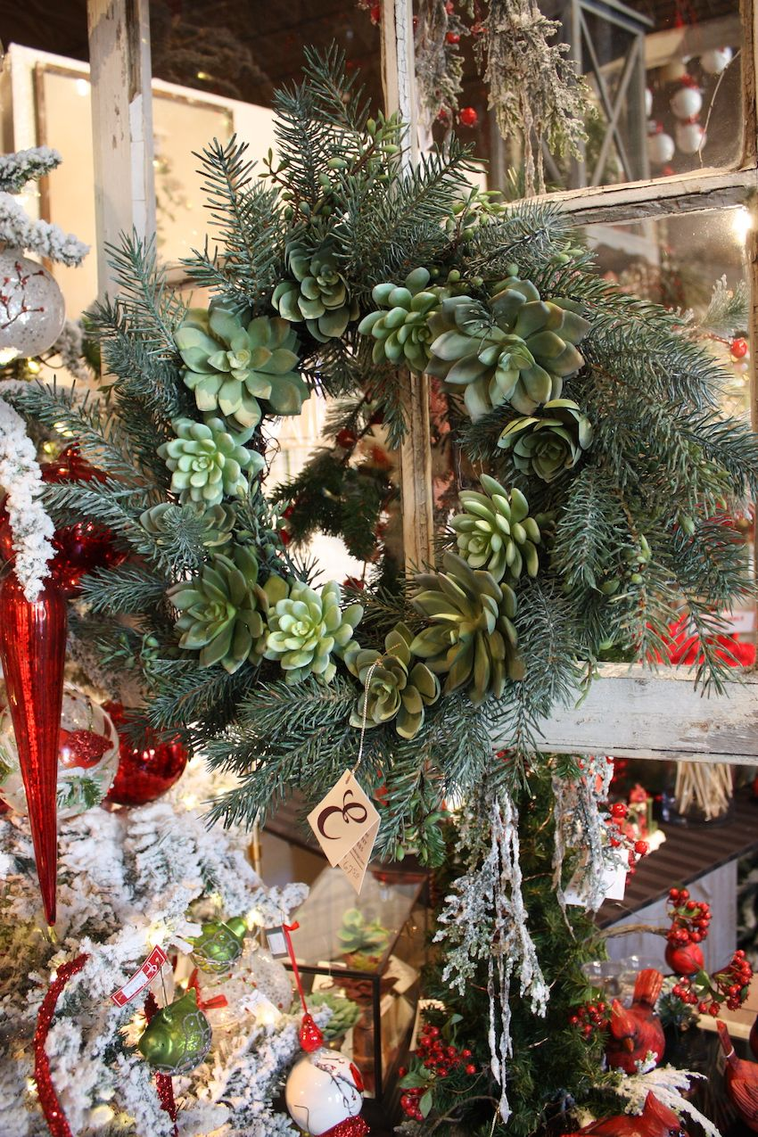 An all-green palette and the absence of traditional bling make this wreath extra natural.