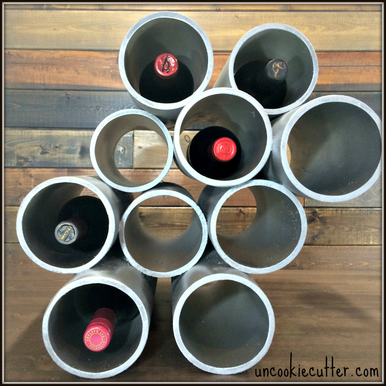 Customizable wine rack made out of pipes