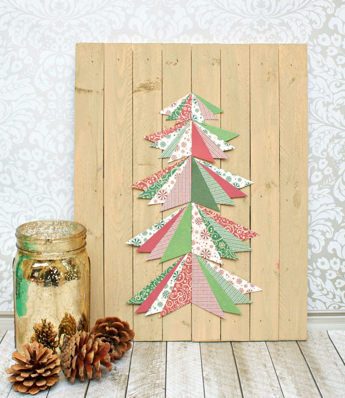 Original christmas decorations which you can craft yourself paper pieced christmas tree wall art tutorial solutioingenieria Gallery