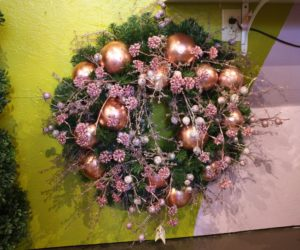 Shades of pink make for an eye-catching alternative holiday decoration.