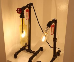 Pipe elbows and the spigot are both important elements in these lamps.
