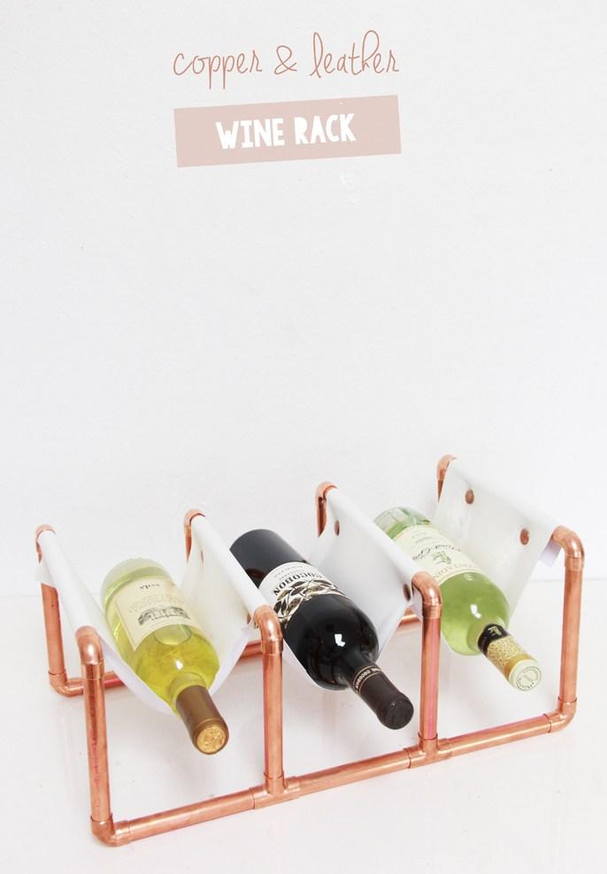 Copper pipe wine rack