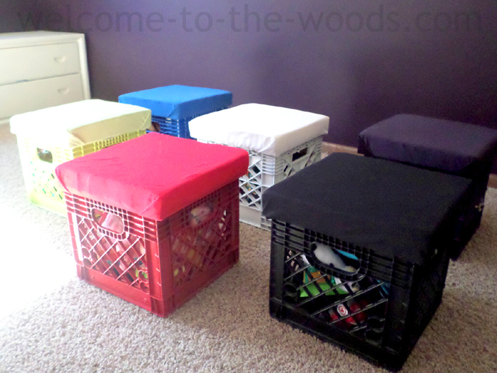 Plastic crates toy storage and seating