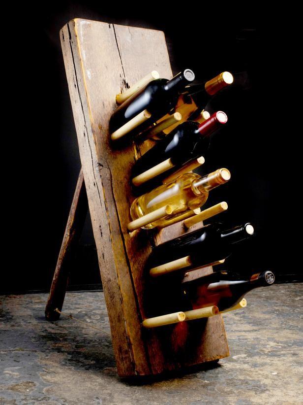 Freestanding, slanted wine rack