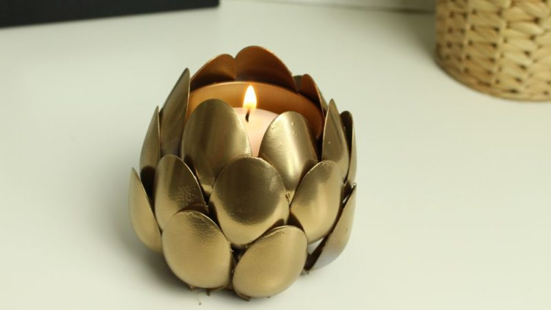 Gorgeous Gilded Candle Holder From Plastic Spoons
