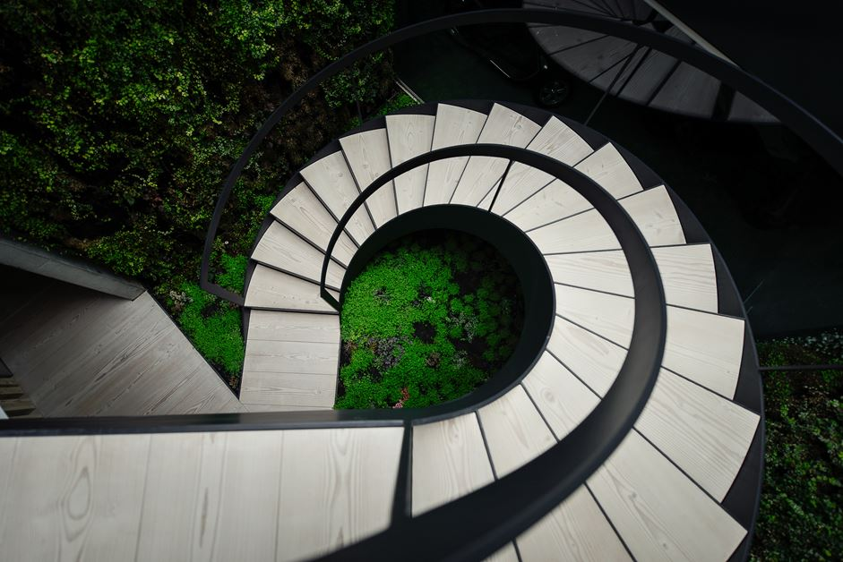 From the top, the spiral staircase has a wonderful geometric design.