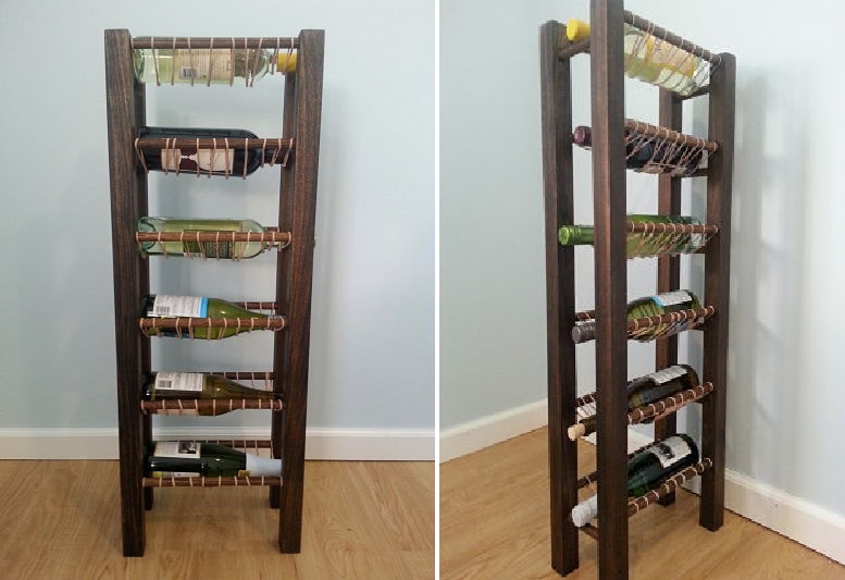Large wine rack featuring rubber bands