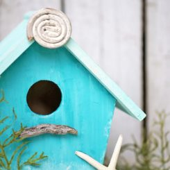 Turquoise birdhouse plan DIY