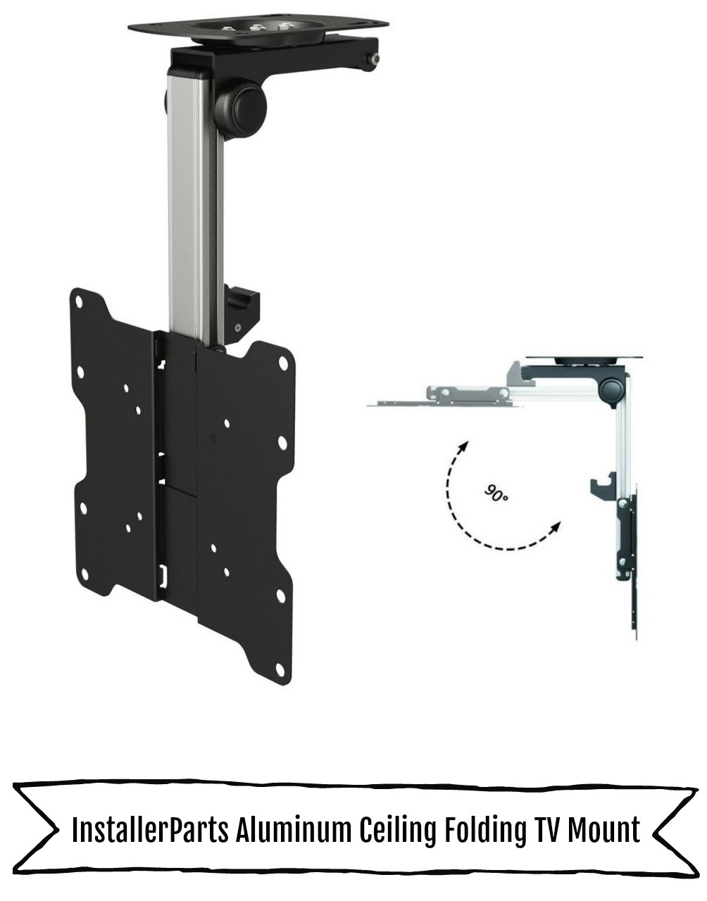 InstallerParts Aluminum Ceiling Folding TV Mount