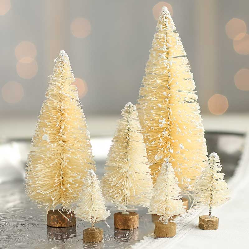 Vintage bottlebrush cream trees