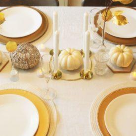 White pumpkin centerpiece for Thanksgiving Table