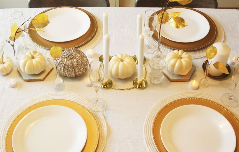White pumpkin centerpiece for Thanksgiving Table