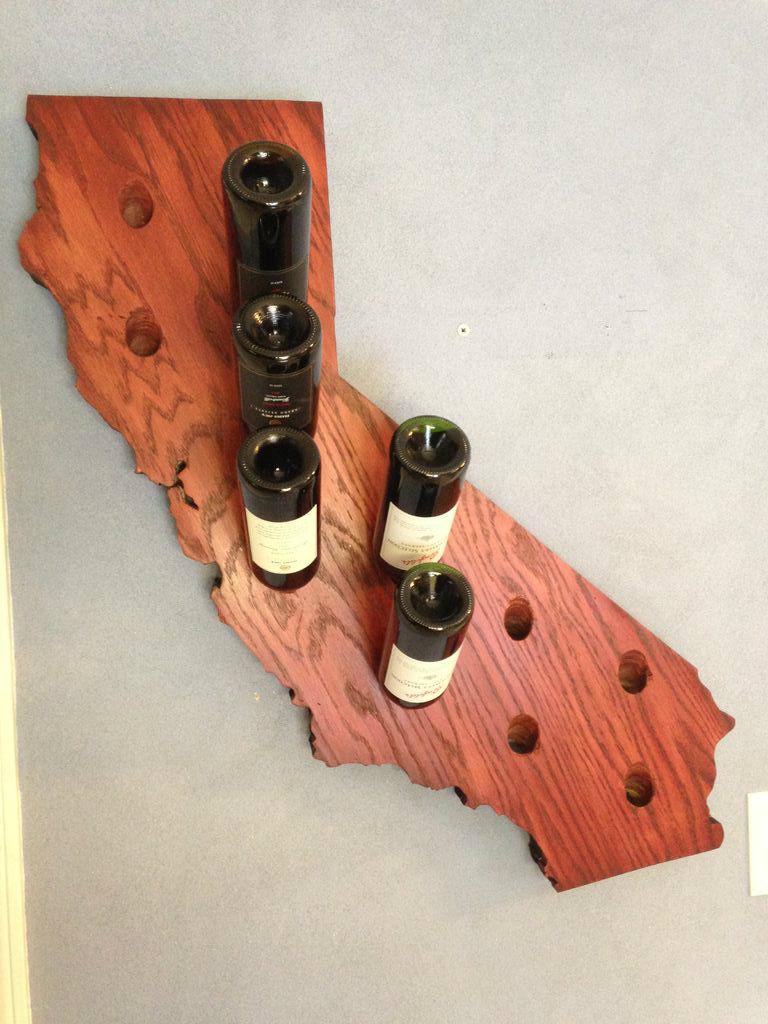 A map-shaped wine rack