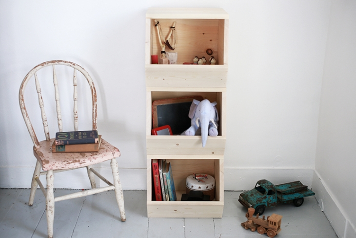 Wooden kids toy storage