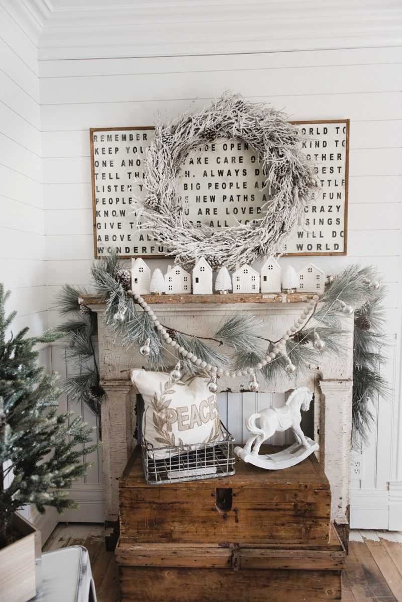 Cottage Christmas Interior Design - decorating a fake fireplace