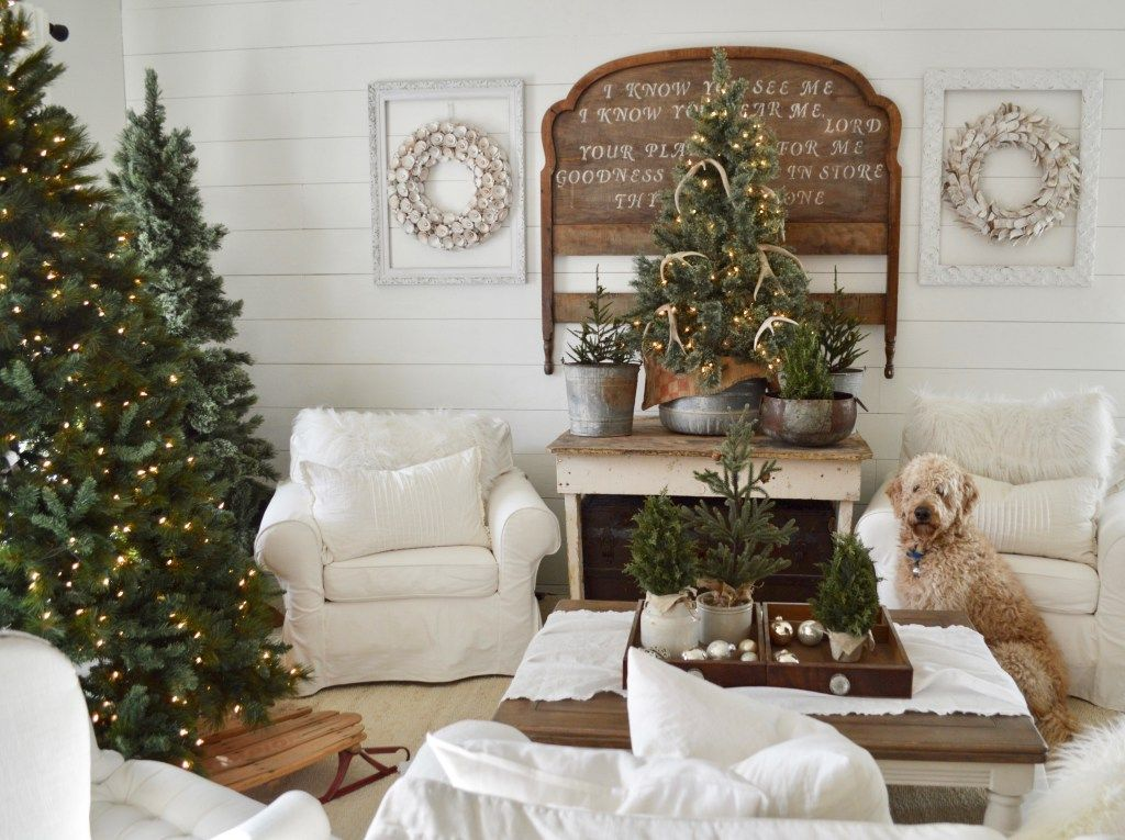 Cottage Christmas Interior Design - warm decor two trees