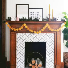 DIY Orange Slice Garland - hang over the fireplace