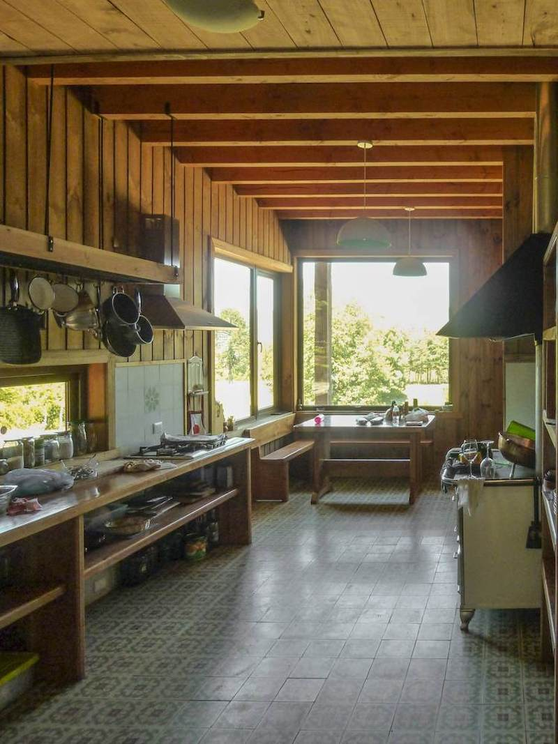 The kitchen is spacious but also really cozy, having a bit of farmhouse charm