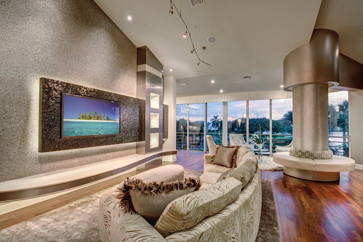 Luxury living room with mosaic wall