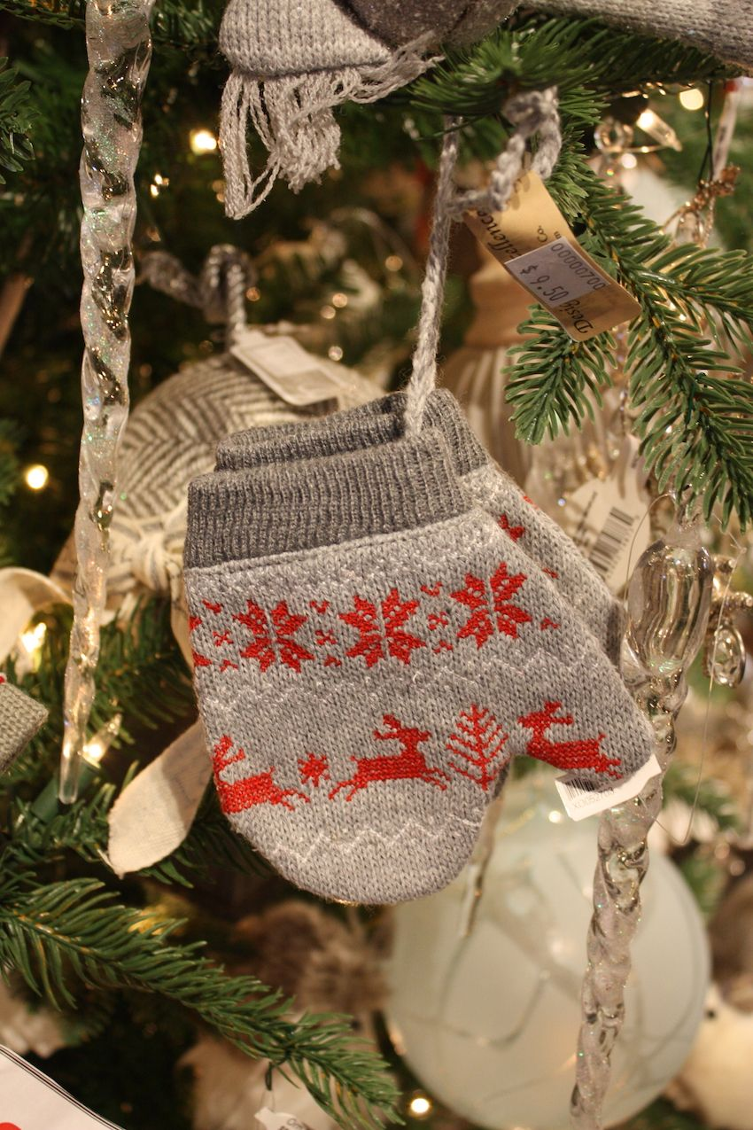 Cute little mitten ornaments are a fun addition to any tree, but especially a natural-themed tree.
