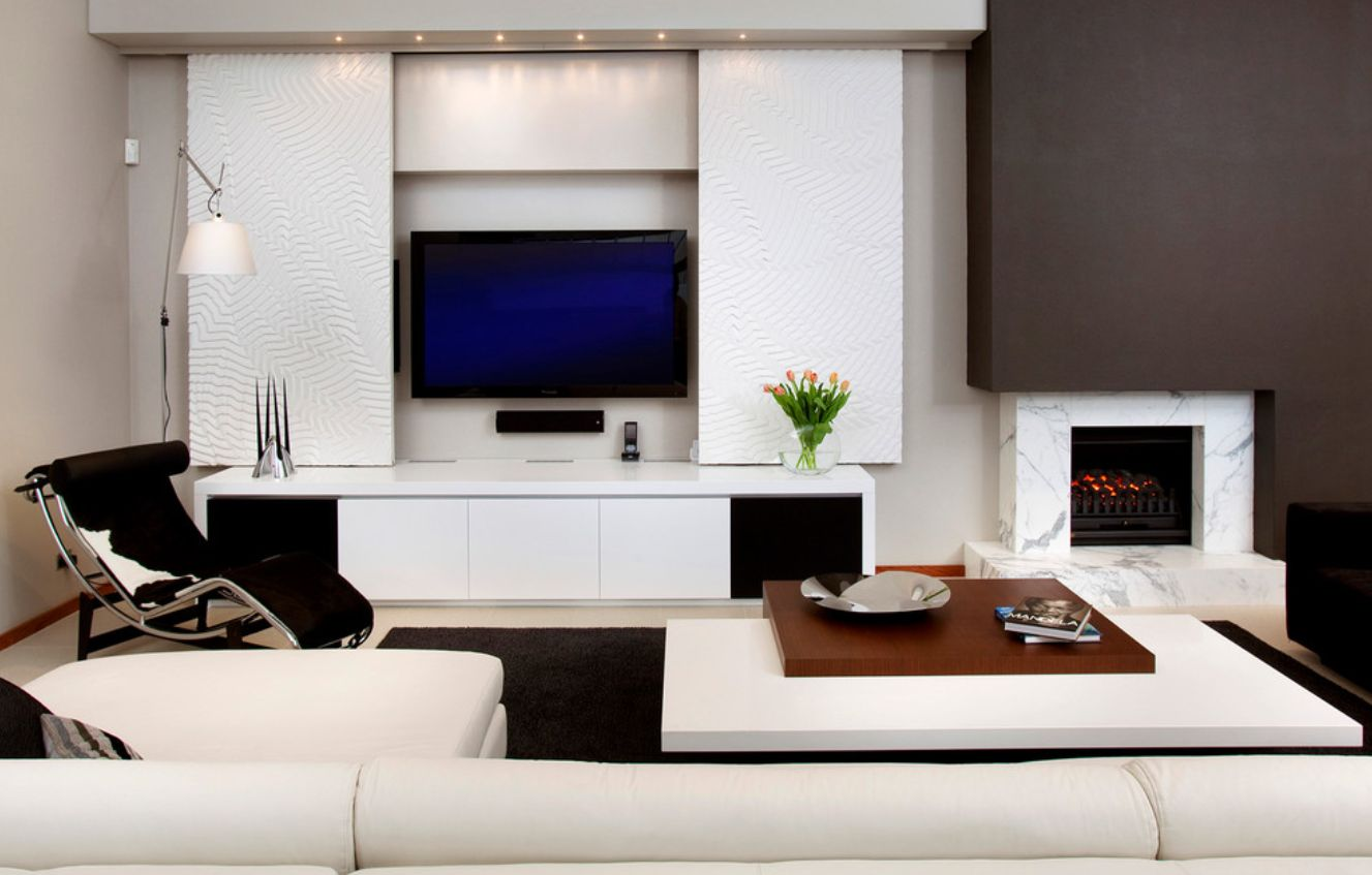 Modern Ways To Seamlessly Hide The Living Room Tv