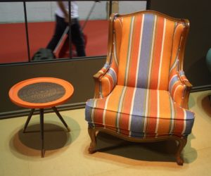 A Multicolored Stripe On The NDesign Chair With A Classic Shape Yields A  More Formal Piece