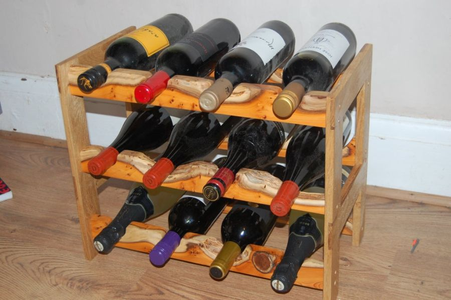 A sculptural wine rack with tiers