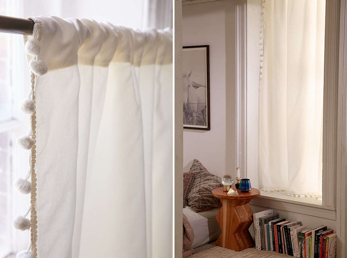 Lovely Beautiful Pompom Kitchen Curtains Nice Look