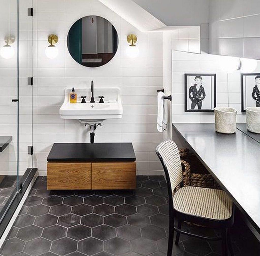 Black Floor Tile refresh white bathroom
