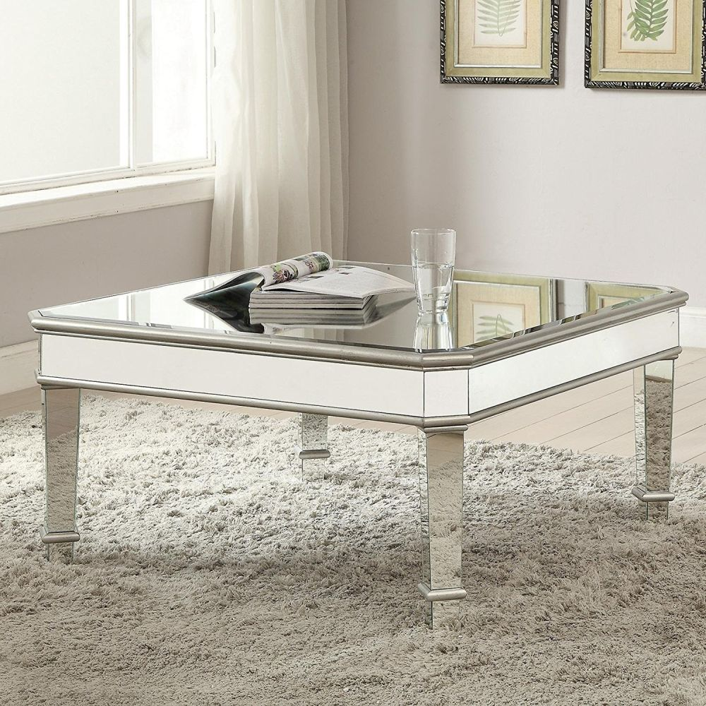 Mirrored coffee table the glamorous accent every living for Mirrored coffee table and end tables
