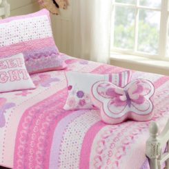 Cotton Lightweight but Warm Pink Butterfly Stripe Hearts Girls Bedding