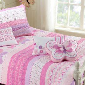 Cotton Lightweight but Warm Pink Butterfly Stripe Hearts Girls Bedding
