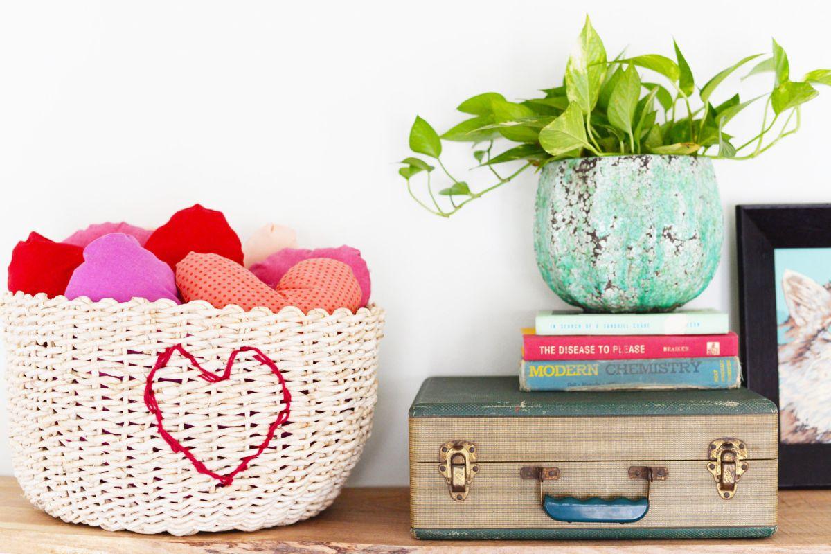 DIY Heart Stitched Basket