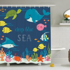 Deep sea blue shower curtain for kids