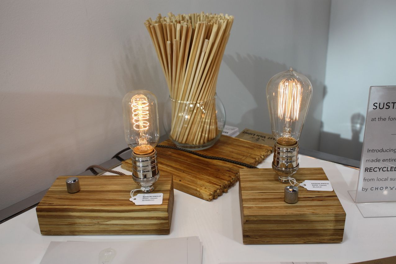Recycled, used chopstick form the base of these light fixtures.