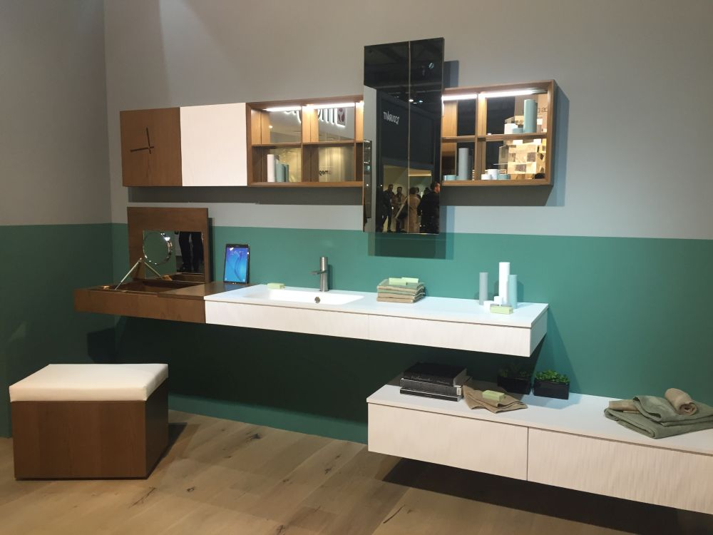 Open shelves, mirrors and wall-mounted vanities are all great at making bathrooms look spacious and open