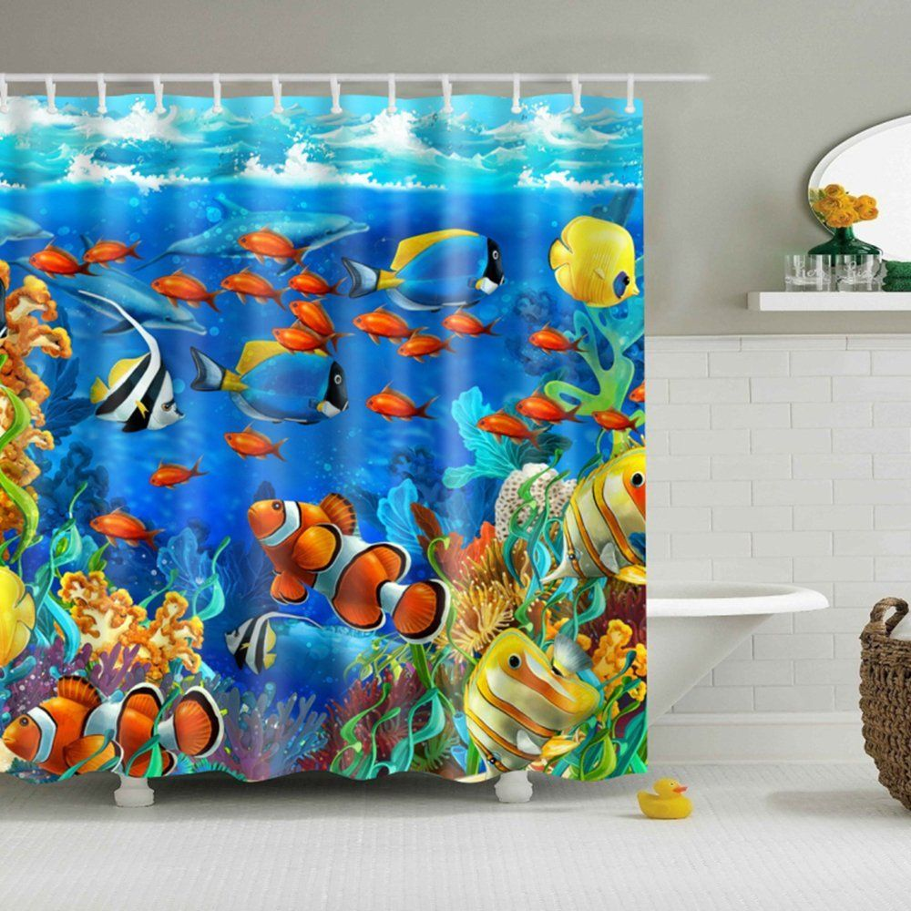 30 kids shower curtains with cute funny and colorful designs for Tropical fish shower curtain