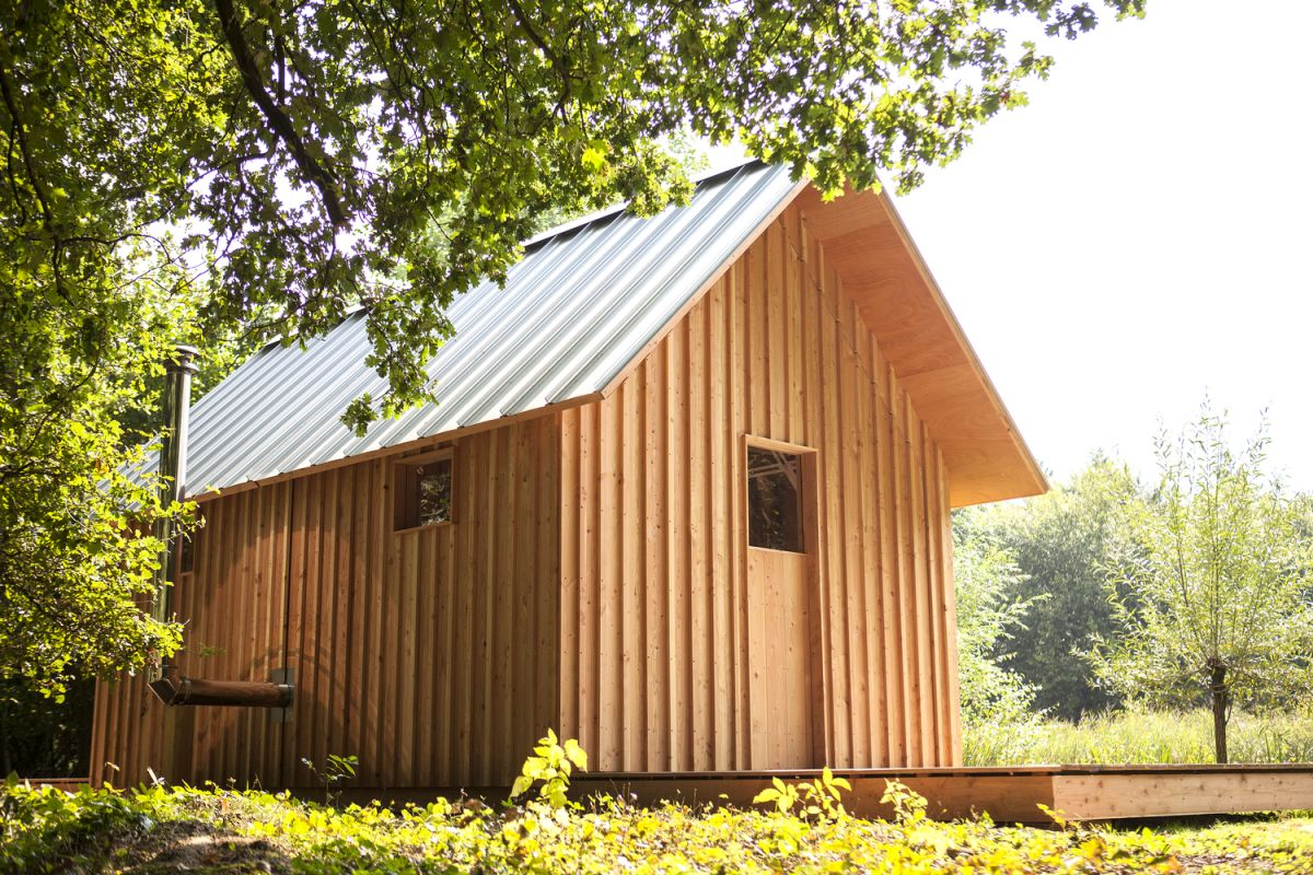 When in its most com[act form, the house looks very simple, like any traditional garden cabin