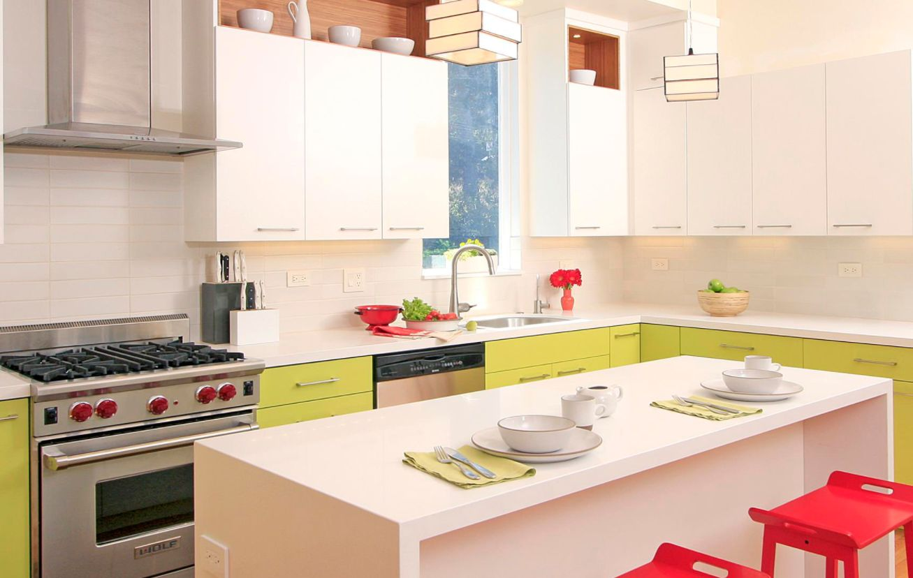 High Quality View In Gallery. Green Kitchen Cabinets ... Awesome Ideas