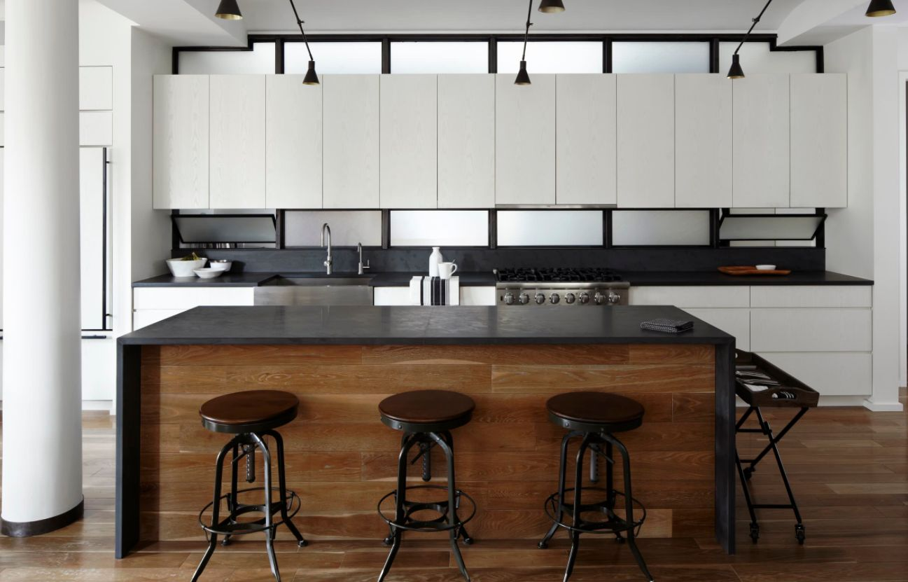 Industrial Kitchen Table Lighting: Keep Up With The Waterfall Countertop Trend