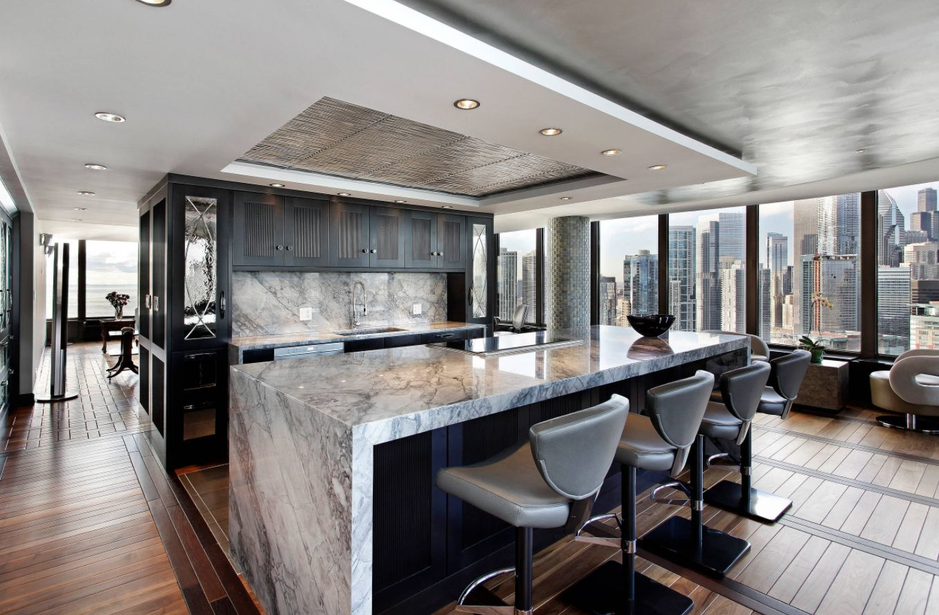 view in gallery - Waterfall Kitchen Island