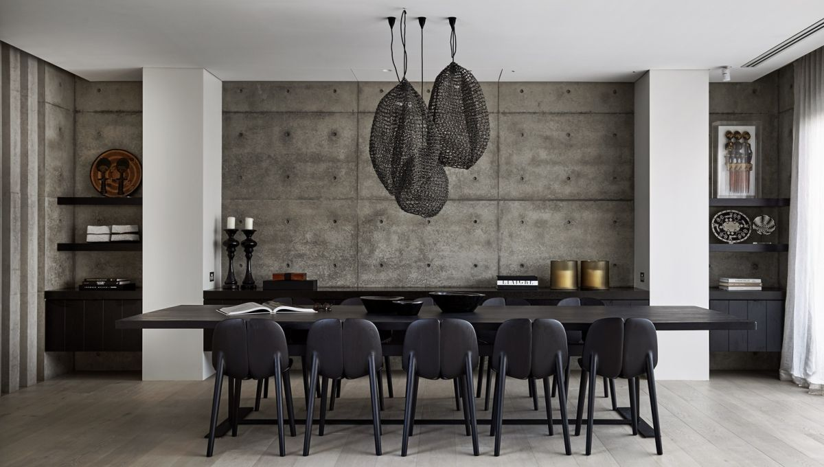 Large netted pendants are grouped together in place of a chandelier.