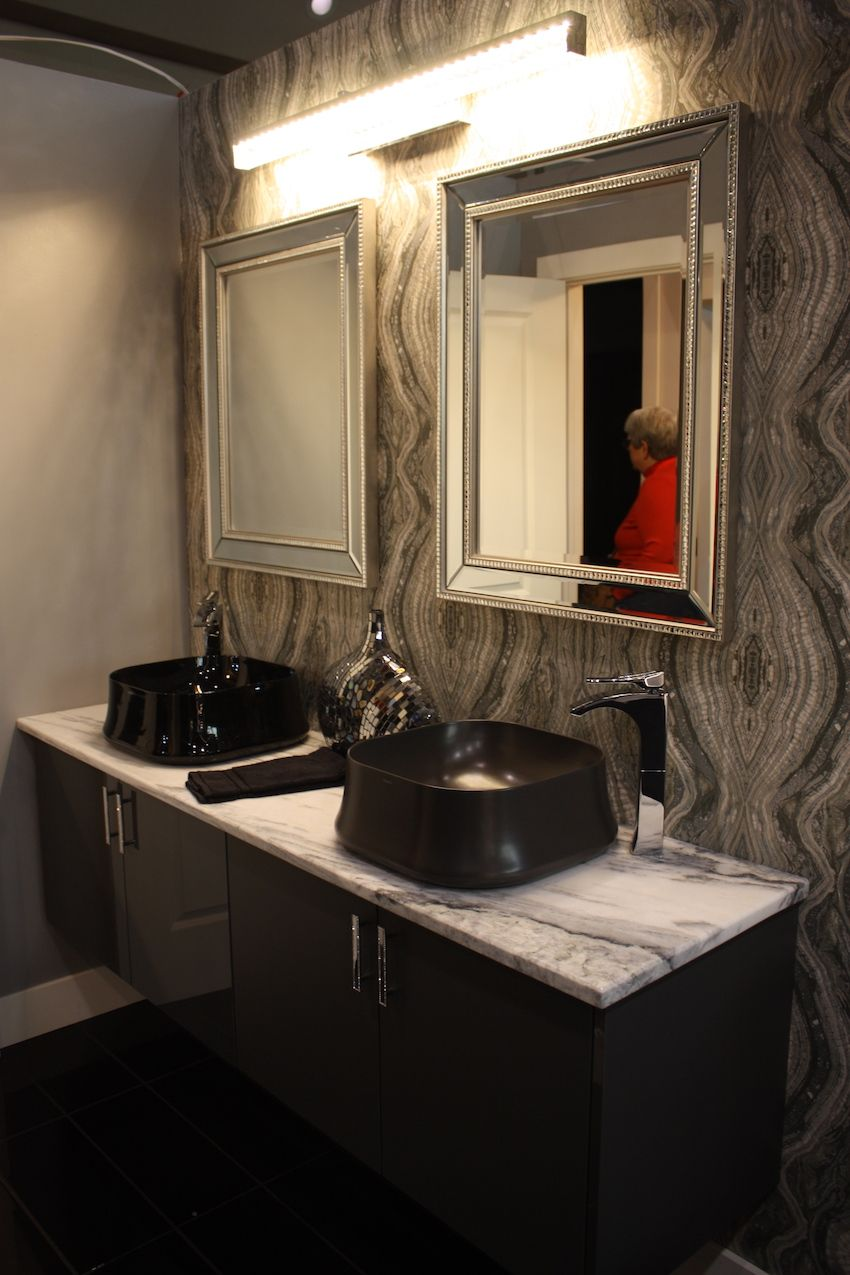 This design also demonstrates how a matte versus shiny porcelain basin affects the look.