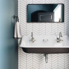 Modern bathroom with black and white chevron