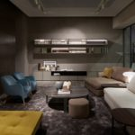 MolteniandCDada IMM 2018 Cologne Booth - Living Room with modern seating furniture and coffee table