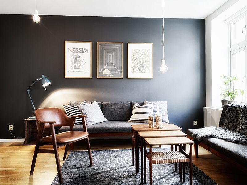 Neutral gray is a perfect match for the wood tones found in Scandinavian style.
