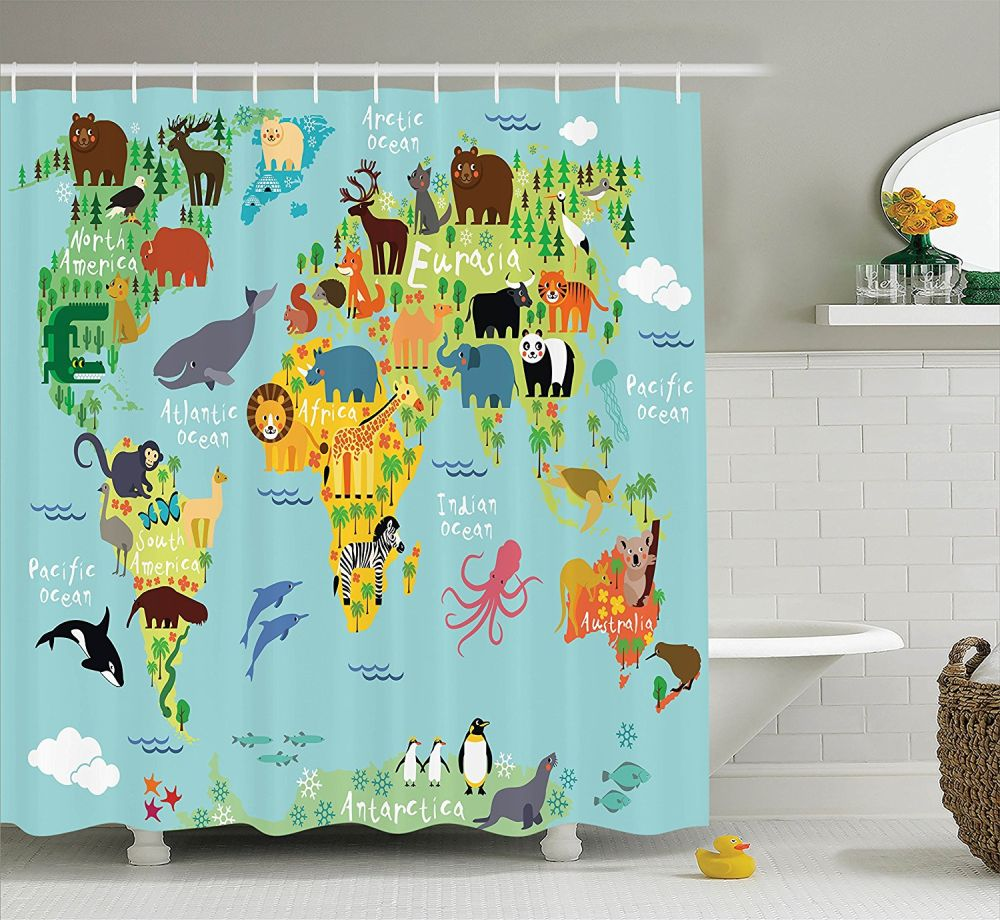 30 Kids Shower Curtains With Cute, Funny And Colorful Designs