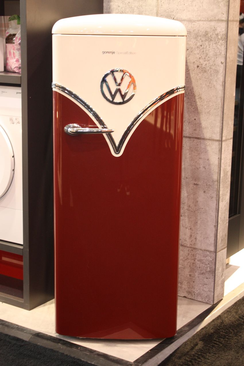 """Park it in your kitchen"" is the tagline for this cool refrigerator."