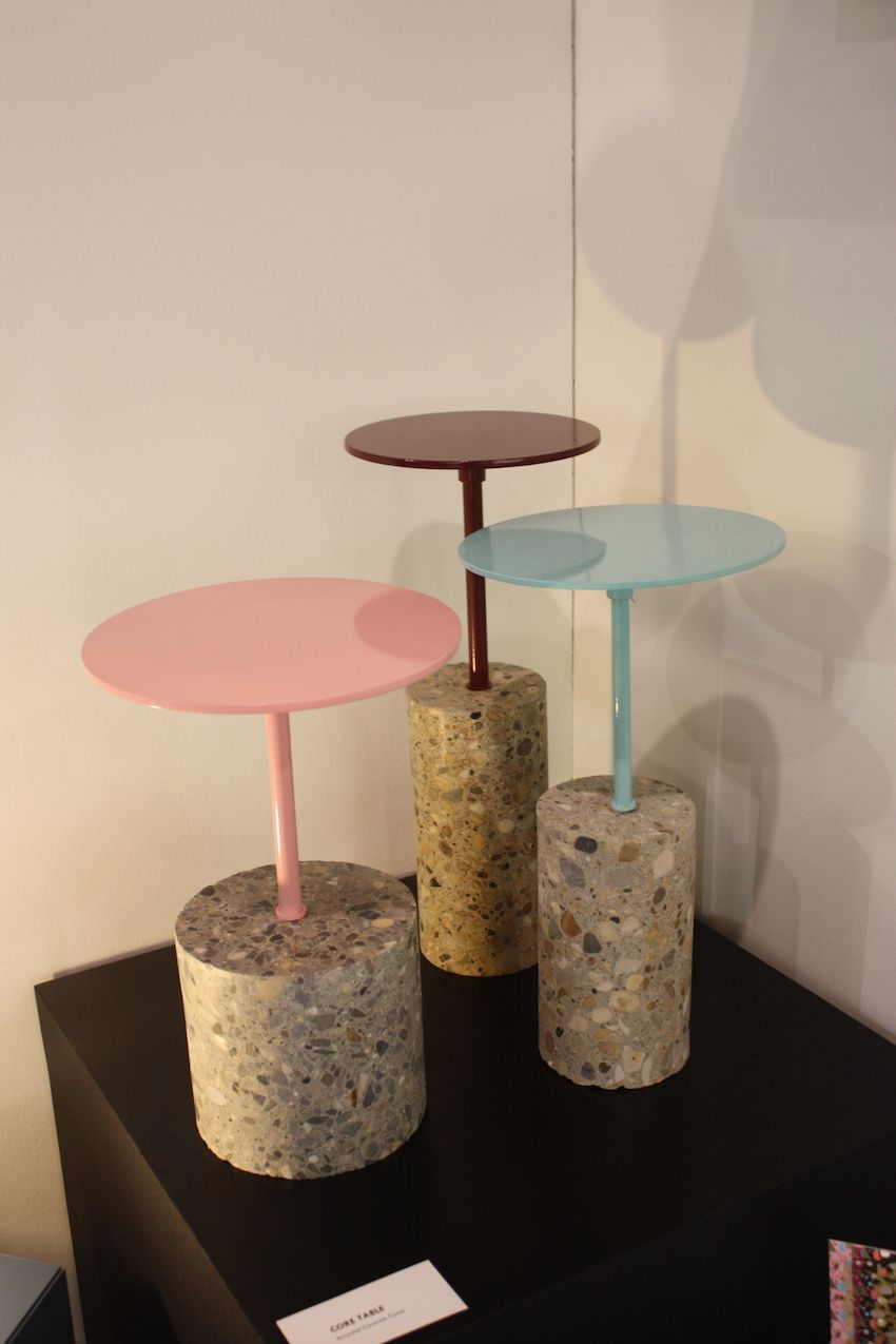 The concrete aggregate in the cores adds dimension to the table bases.