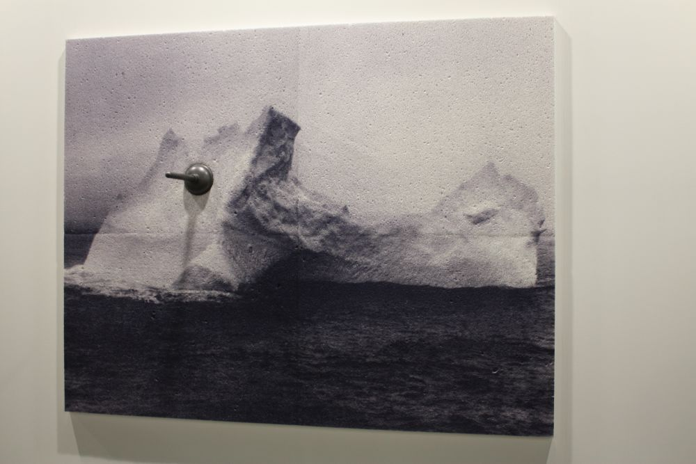 """""""Phantom Limb"""" is a mixed media work, including an ink jet print on cellulose sponge and graphite."""